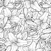 Beautiful seamless background with black and white lily and roses
