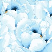 Beautiful seamless background with blue flowers. Hand-drawn with effect of drawing in watercolor