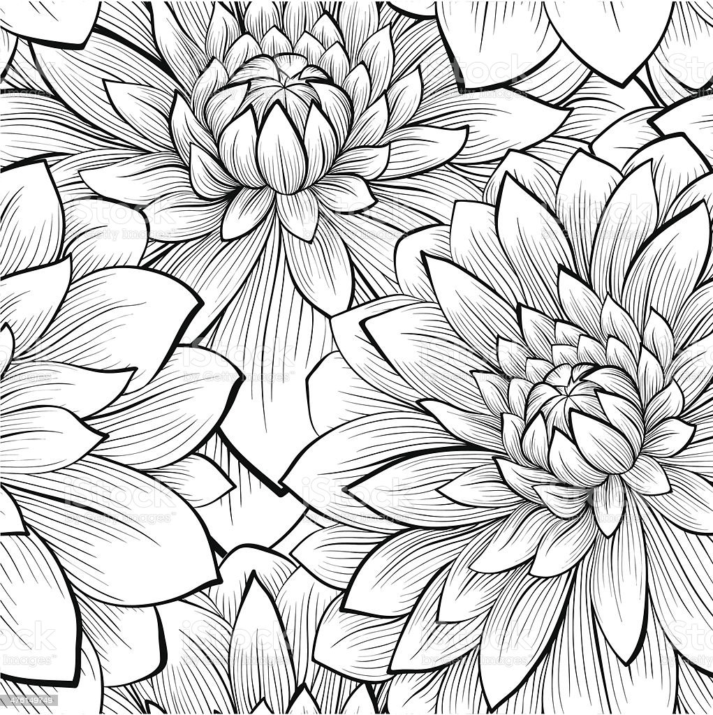 Beautiful Seamless Background With Monochrome Black And White