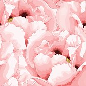 Beautiful seamless background with pink flowers. Hand-drawn with effect of drawing in watercolor