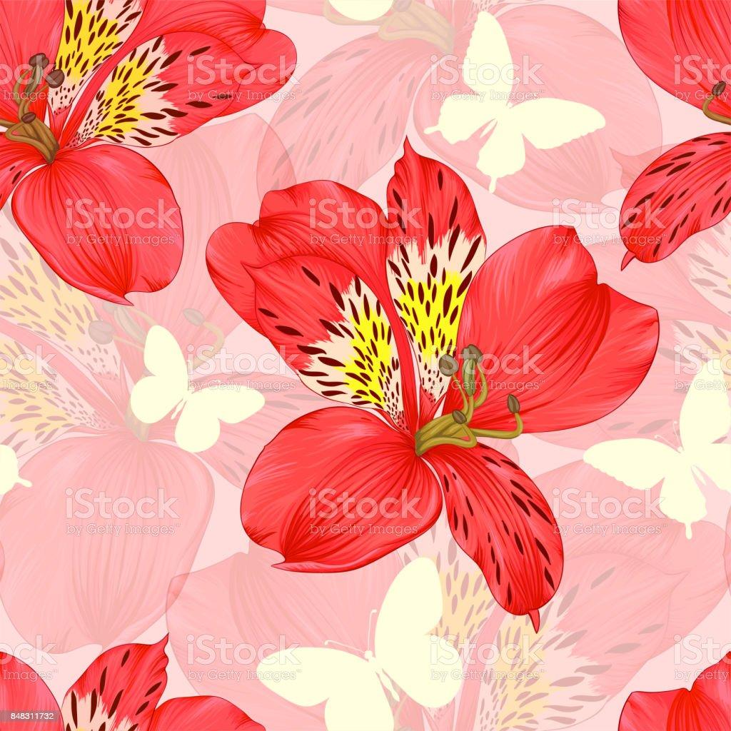 Hermoso fondo transparente con flores de alstroemeria roja, silhoette mariposa. diseño tarjeta de felicitación e invitación de la boda, cumpleaños, día de San Valentín, día de la madre y otras vacaciones estacionales. - ilustración de arte vectorial