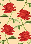 Beautiful seamless background with roses with stem and leaves.