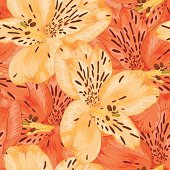Beautiful seamless background with yellow and orange alstroemeria flower.