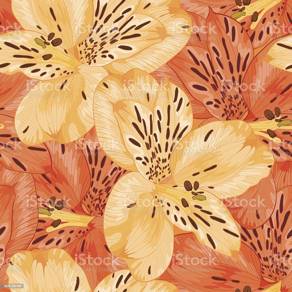 Hermoso fondo sin costuras con flores amarillas y naranjas alstroemeria. - ilustración de arte vectorial