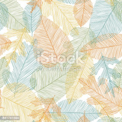 Beautiful seamless doodle pattern with leaves sketch. design background greeting cards and invitations to the wedding, birthday, mother s day and other seasonal autumn holidays