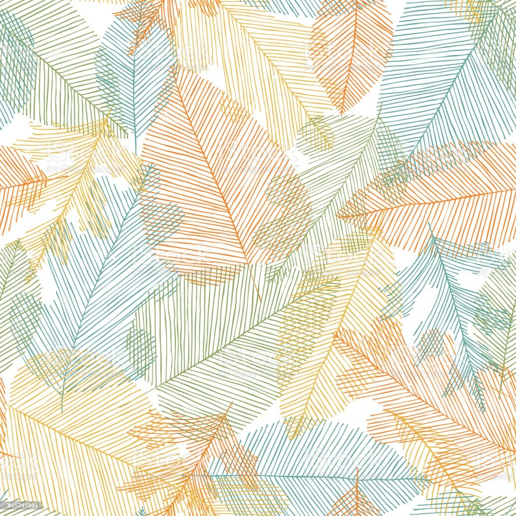 Beautiful seamless doodle pattern with leaves sketch. design background greeting cards and invitations to the wedding, birthday, mother s day and other seasonal autumn holidays. - illustrazione arte vettoriale