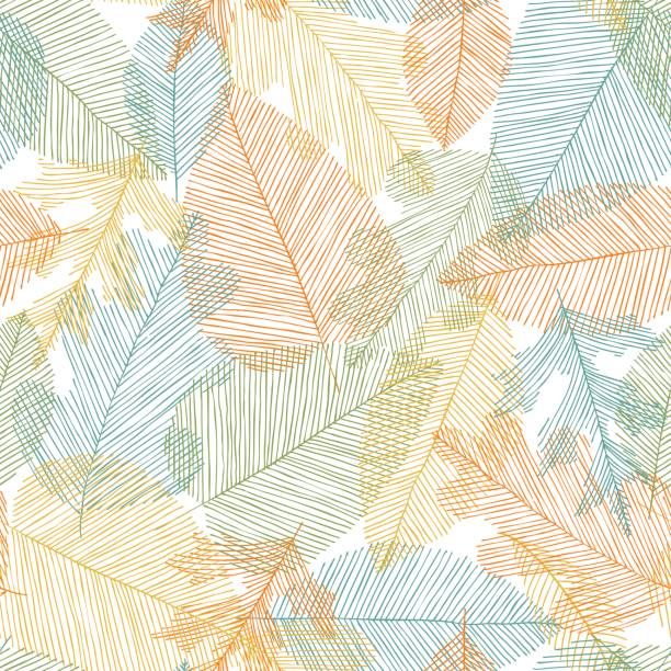 beautiful seamless doodle pattern with leaves sketch. design background greeting cards and invitations to the wedding, birthday, mother s day and other seasonal autumn holidays. - fall stock illustrations