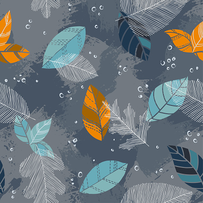 Beautiful seamless doodle pattern with vintage leaves sketch. design background greeting cards and invitations to the wedding, birthday, mother s day and other seasonal autumn, spring, summer holidays