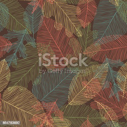 Beautiful seamless doodle pattern with vintage leaves sketch. design background greeting cards and invitations to the wedding, birthday, mother s day and other seasonal autumn holidays,