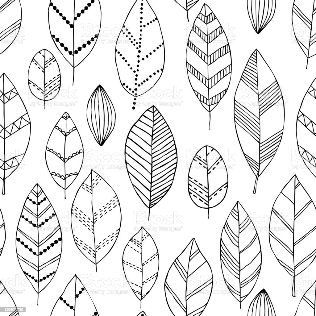 Beautiful Seamless Doodle Pattern With Vintage Leaves Sketch Design