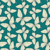 Beautiful seamless pattern. butterflies vintage color.