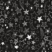 beautiful seamless pattern hand drawn doodle stars black and white isolated on background