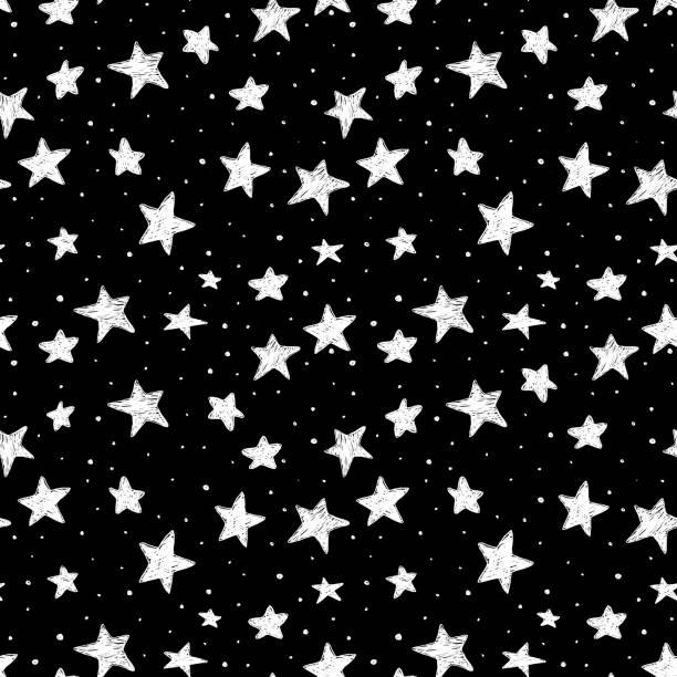schöne Musterdesign handgezeichnete Doodle Sterne schwarz und weiß auf Hintergrund isoliert. Nachthimmel – Vektorgrafik