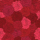 beautiful seamless pattern in red roses with contours. Hand-drawn contour lines and strokes. Perfect for background greeting cards and invitations to the day of the wedding, birthday, Valentine's Day