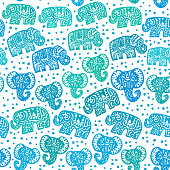 Beautiful seamless pattern Indian Elephant with polka dot ornaments. Hand drawn ethnic tribal decorated Elephant. Turquoise green blue teal contour isolated on white endless background. Vector