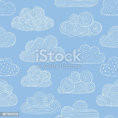Beautiful seamless pattern of doodle clouds. design background greeting cards and invitations to the wedding, birthday, mother s day and other seasonal autumn holidays