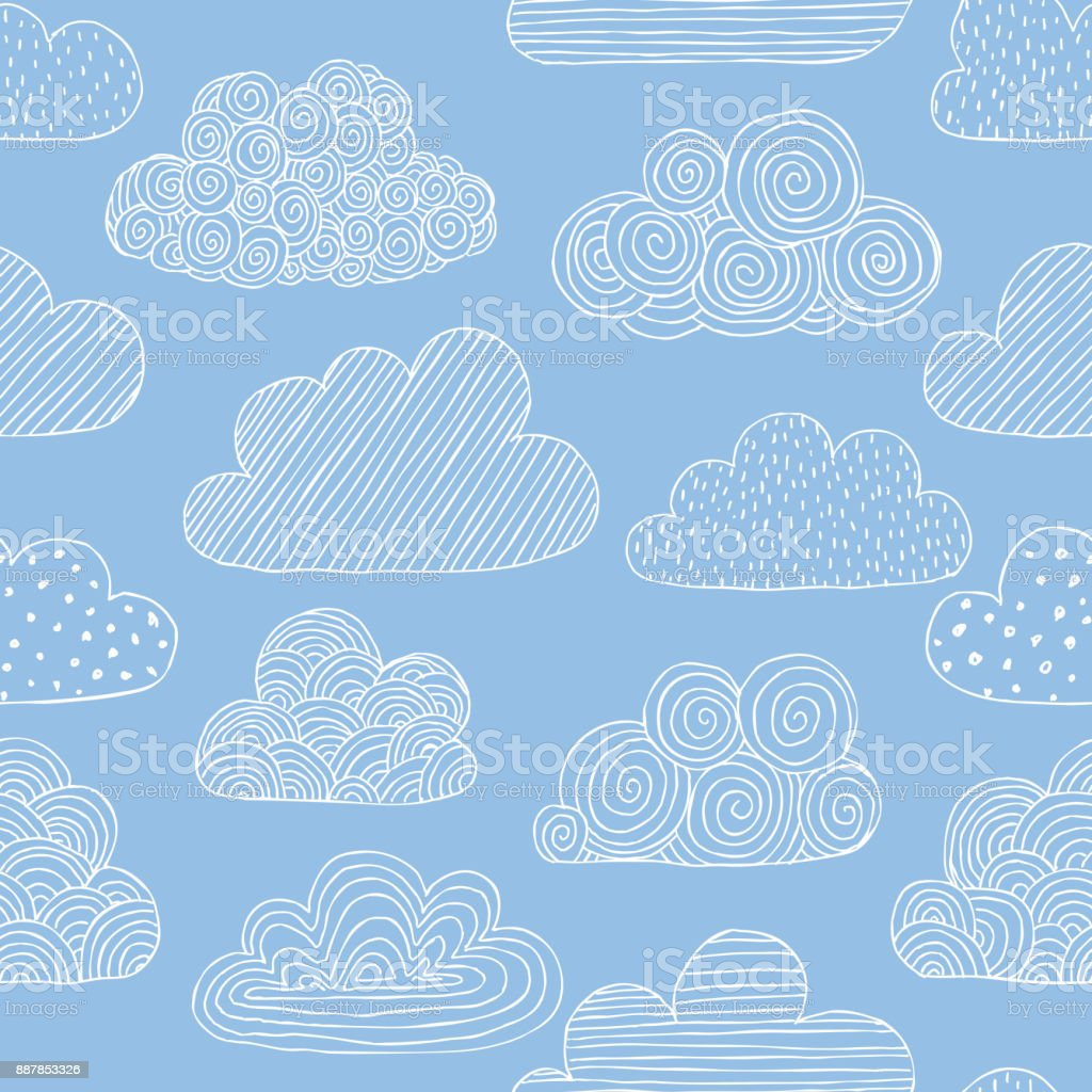 Beautiful seamless pattern of doodle clouds. design background greeting cards and invitations to the wedding, birthday, mother s day and other seasonal autumn holidays. vector art illustration