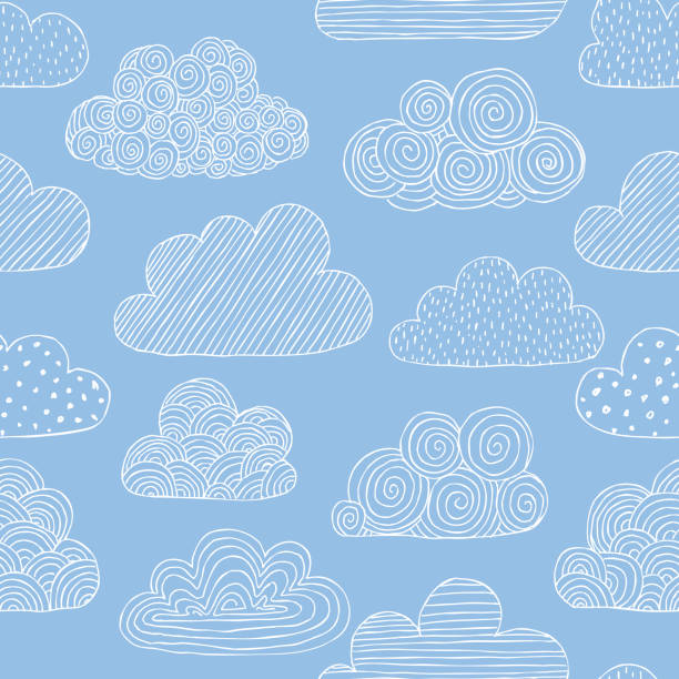 beautiful seamless pattern of doodle clouds. design background greeting cards and invitations to the wedding, birthday, mother s day and other seasonal autumn holidays. - chmura stock illustrations