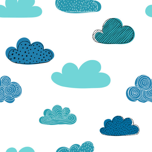 beautiful seamless pattern of doodle clouds. design background greeting cards and invitations and for baby clothes. - clouds stock illustrations