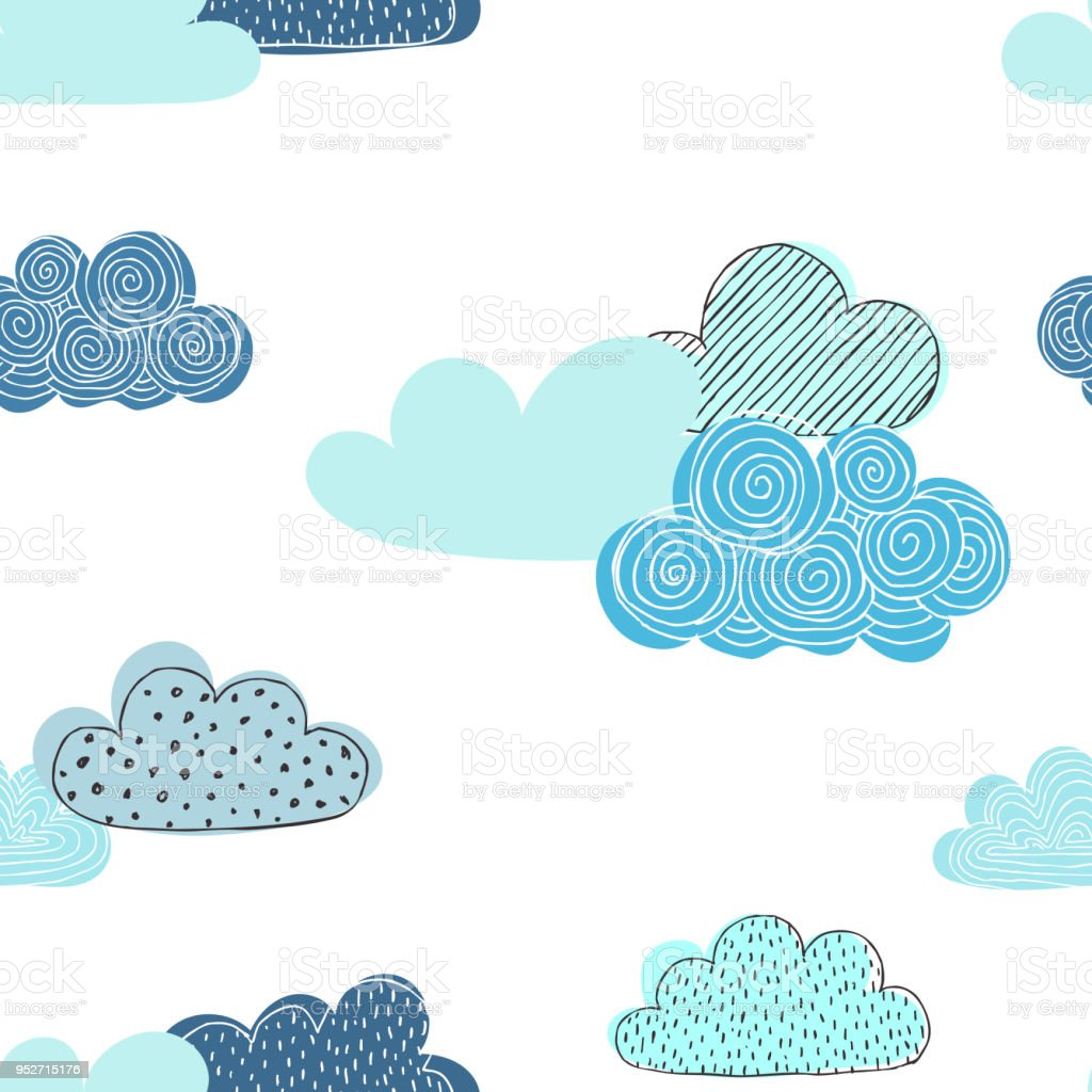 Beautiful seamless pattern of doodle clouds. design background greeting cards and invitations and for baby clothes. векторная иллюстрация
