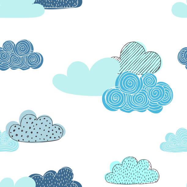ilustraciones, imágenes clip art, dibujos animados e iconos de stock de patrón transparente hermoso doodle nubes. diseño fondo tarjetas de felicitación e invitaciones y para ropa de bebé. - niñez