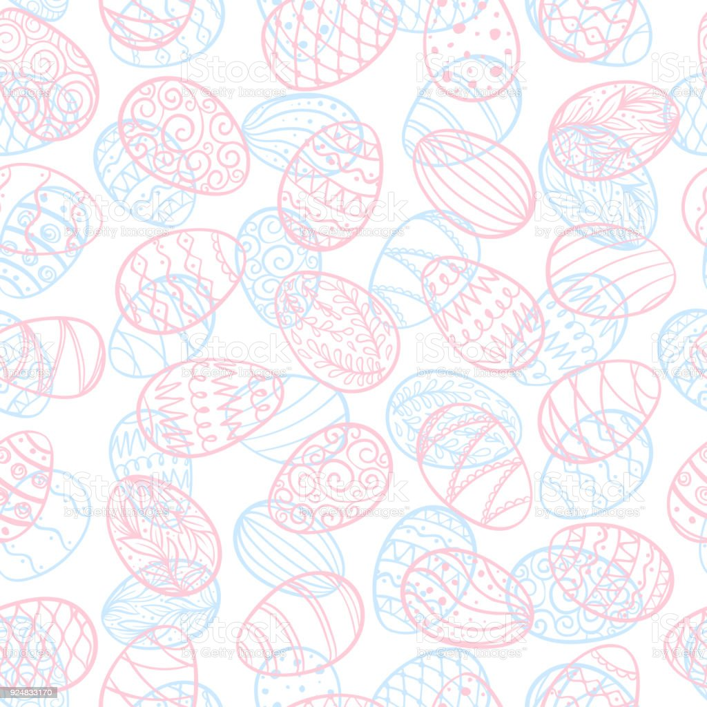 Beautiful Seamless Pattern Of Doodle Easter Eggs Isolated Sketch