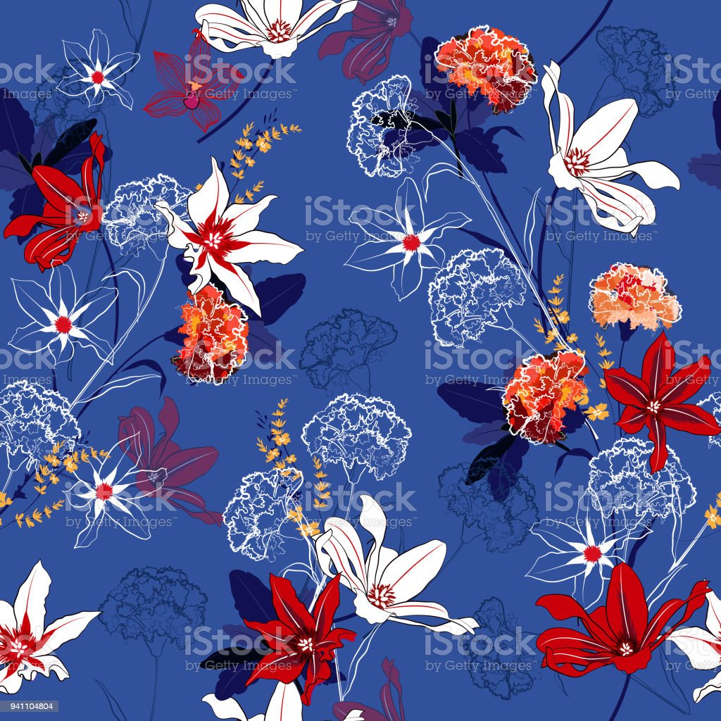 Beautiful Seamless Pattern Vector A Garden Flowers Are Blooming And ...