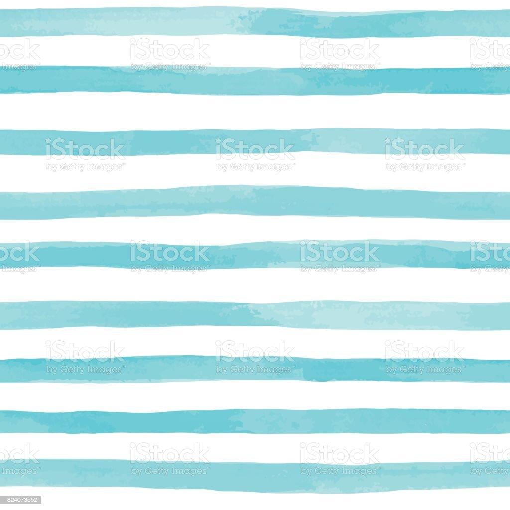 青い水彩ストライプの美しいシームレス パターン。手描きのブラシ ストローク、ストライプの背景。ベクトルの図。 ベクターアートイラスト