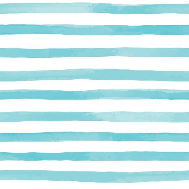 beautiful seamless pattern with blue watercolor stripes. hand painted brush strokes, striped background. vector illustration. - pasiasty stock illustrations