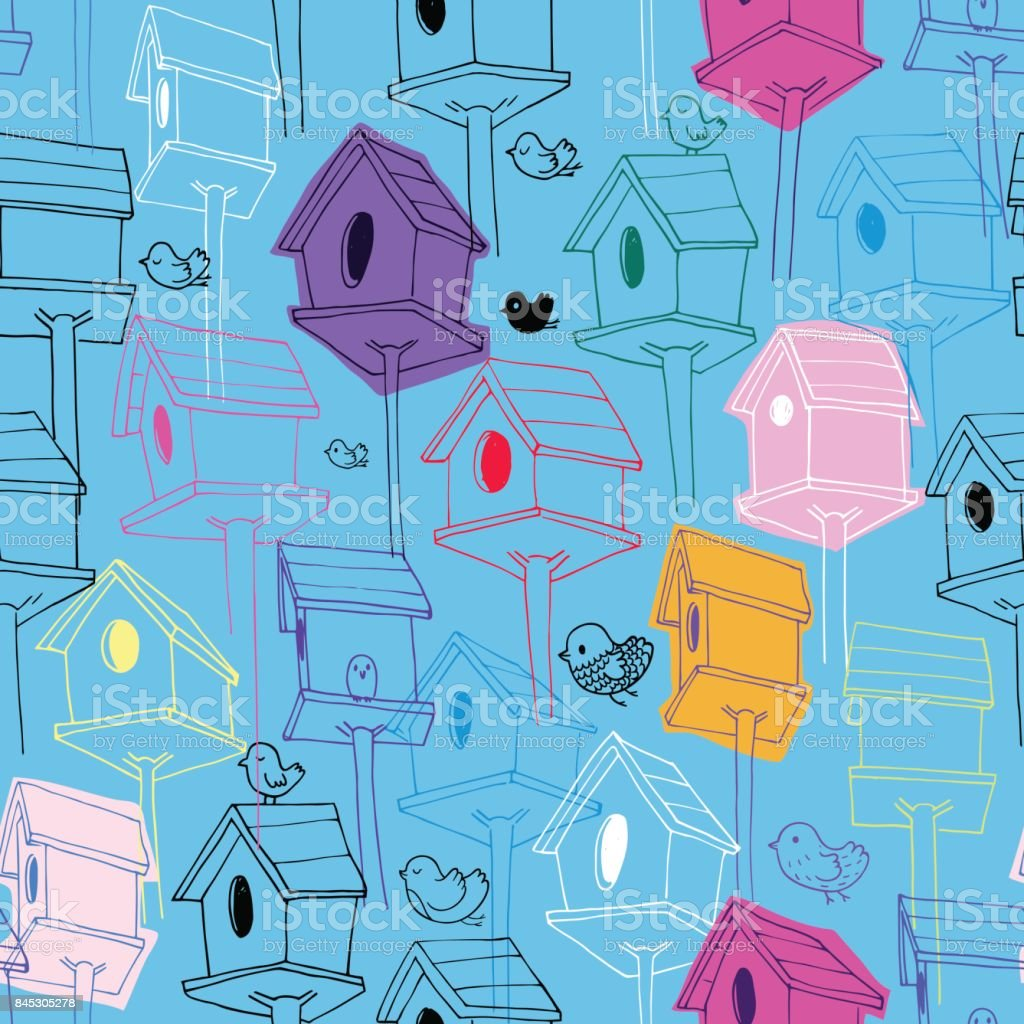 Beautiful seamless pattern with colorfil birdhouse on blue background. Colorful hand-drawn bird houses in line style with hand-drawn scribble textures. Illustration for fabric print, wallpaper, wrapping paper, backdrop. vector art illustration