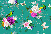 Beautiful seamless pattern with floral bunches of roses for spring dress fabric