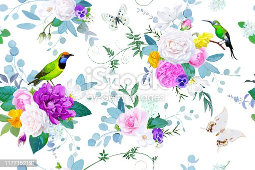 istock Beautiful seamless pattern with floral bunches of roses for spring dress fabric 1177152191
