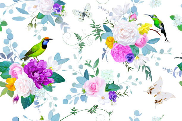 illustrazioni stock, clip art, cartoni animati e icone di tendenza di beautiful seamless pattern with floral bunches of roses for spring dress fabric - farfalla ramo