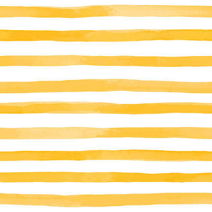Beautiful seamless pattern with Orange yellow watercolor stripes. hand painted brush strokes, striped background. Vector illustration