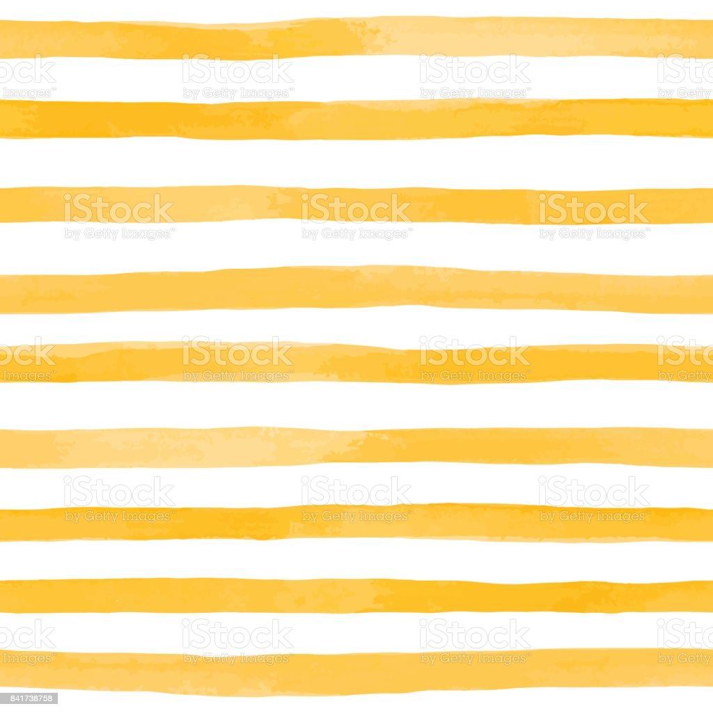 Beautiful seamless pattern with Orange yellow watercolor stripes. hand painted brush strokes, striped background. Vector illustration vector art illustration