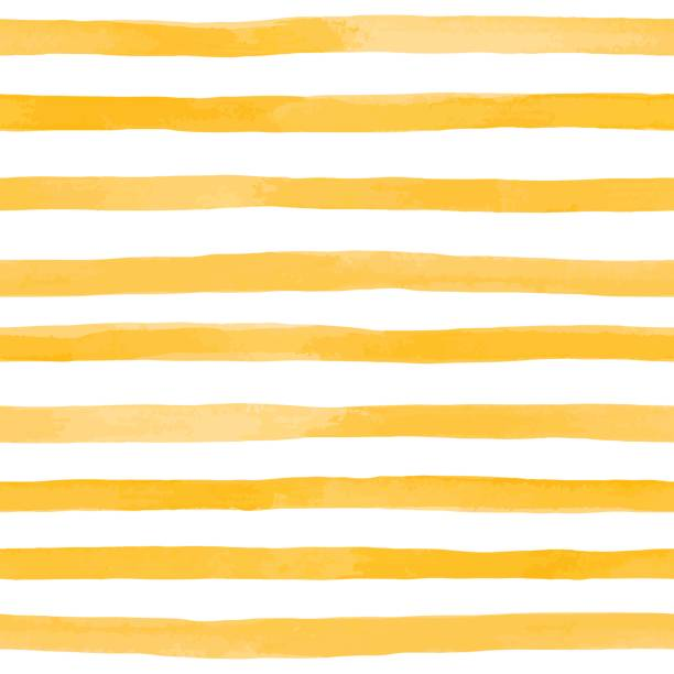 beautiful seamless pattern with orange yellow watercolor stripes. hand painted brush strokes, striped background. vector illustration - yellow stock illustrations