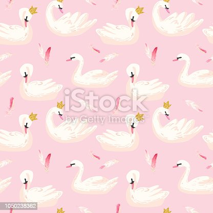 Beautiful Seamless Pattern with white Swans and pink Feathers, use for Baby Background, Textile Prints, Covers, Wallpaper, Posters. Vector Illustration