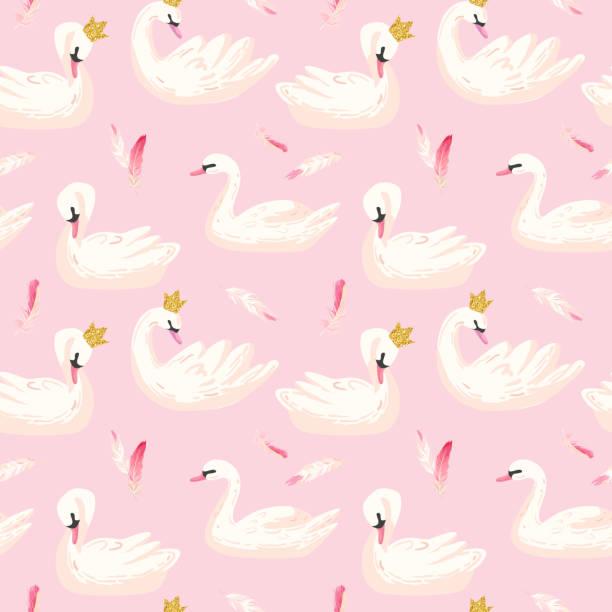 stockillustraties, clipart, cartoons en iconen met mooie naadloze patroon met witte zwanen en roze veren, gebruik voor baby achtergrond, textiel prints, covers, behang, posters. vectorillustratie - wildplassen