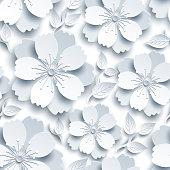 Beautiful trendy white, grey seamless pattern. Light background, decorative stylized 3d sakura flower, japanese cherry tree blossom cut paper. Floral stylish modern wallpaper. Graphic design. Vector illustration