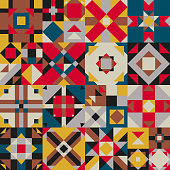 Abstract Mosaic texture with squares and triangles. Traditional background in ethnic style.