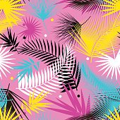 Beautiful seamless tropical jungle floral pattern background with palm leaves. Pop art. Trendy style. Bright colors. Vector illustration.