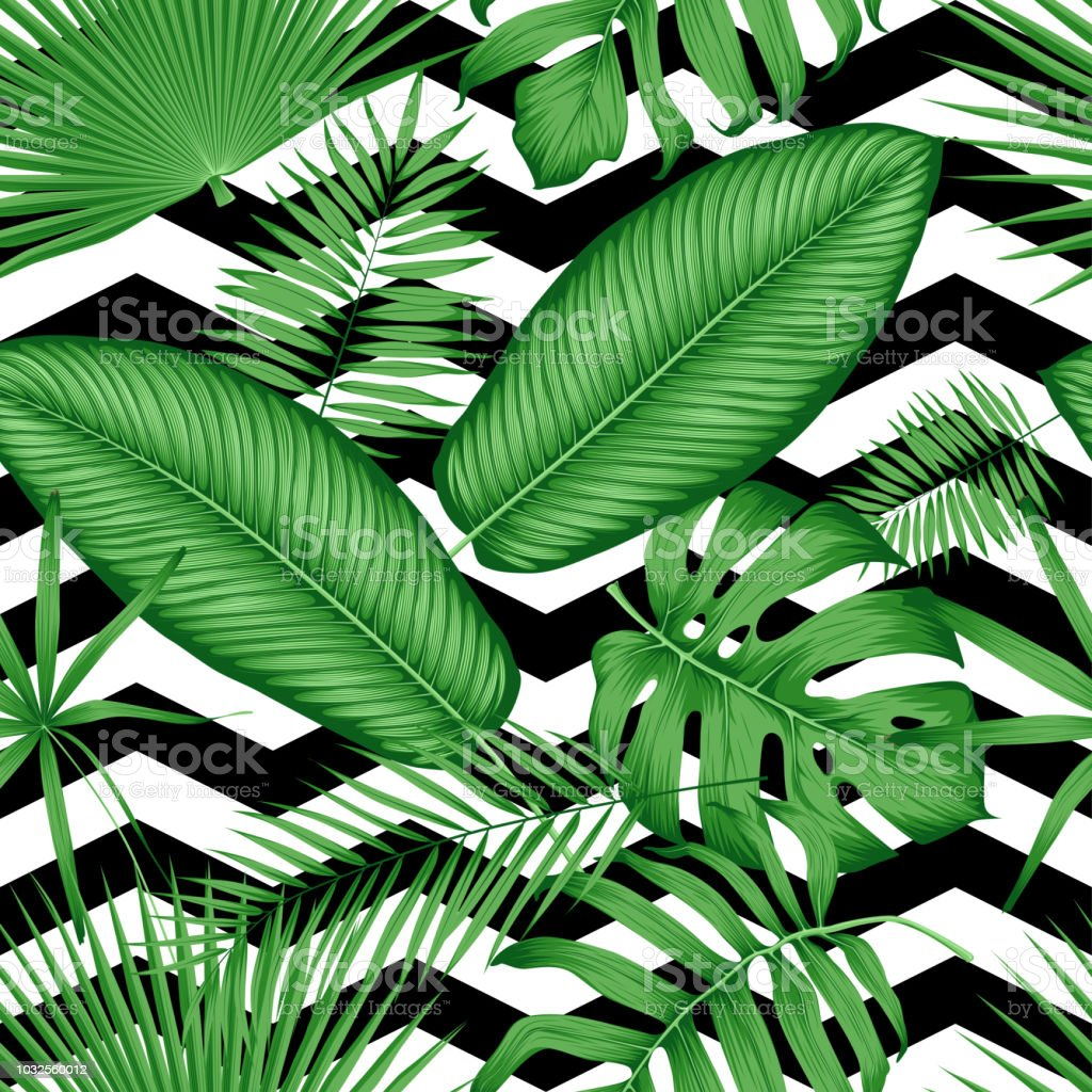Beautiful Seamless Vector Floral Pattern Tropical Jungle Leaves On A Geometric Background Stock Illustration Download Image Now Istock Tropical wallpaper designed by lemon. beautiful seamless vector floral pattern tropical jungle leaves on a geometric background stock illustration download image now istock