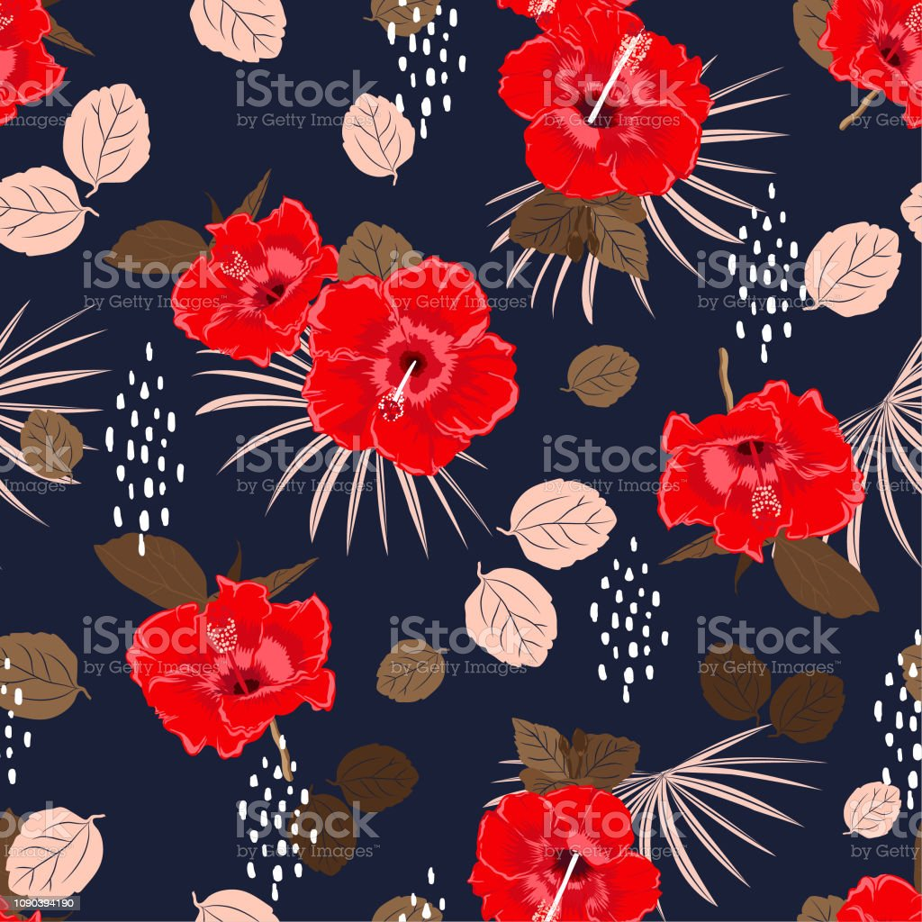 Beautiful Seamless Vector Hibiscus Exotic Floral Pattern Spring