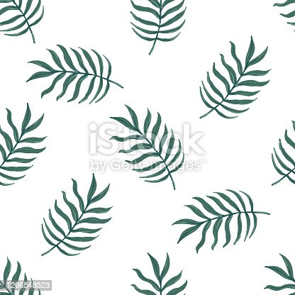 istock Beautiful seamless vector tropical pattern with palm leaves on white background. Abstract summer texture 1266548523