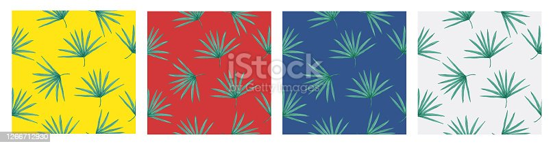 istock Beautiful seamless vector tropical pattern with palm leaves on white background. Tropical summer texture. Elegant template for fashion prints. 1266712930