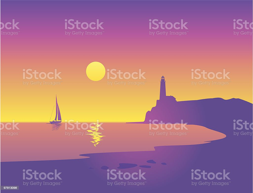 Beautiful Seascape with Sailboat and Lighthouse royalty-free stock vector art