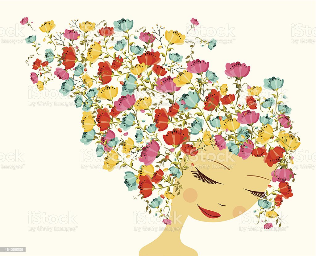 Beautiful season woman abstract hair design elements vector art illustration