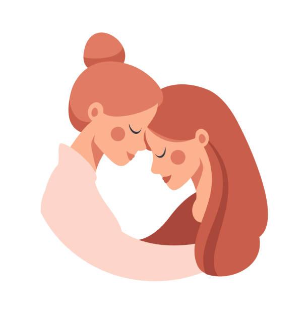 ilustraciones, imágenes clip art, dibujos animados e iconos de stock de hermosa madre mayor abrazar a su hija linda adulta con amor. - hija