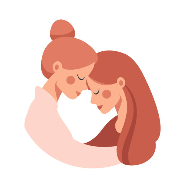 Beautiful senior mother embracing her adult cute daughter with love. Beautiful senior mother embracing her adult cute daughter with love. Vector concept isolated from white for the Mother's Day daughter stock illustrations