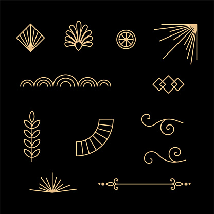 Beautiful set of Art Deco, Gatsby palmette ornates from 1920s fashion and design trends vector art